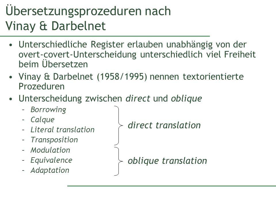 Übersetzungsprozeduren nach Vinay & Darbelnet