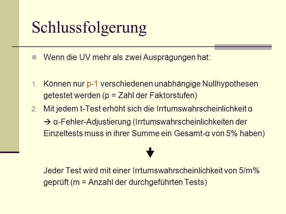 Schlussfolgerung  Wenn die UV mehr als zwei Ausprägungen hat: