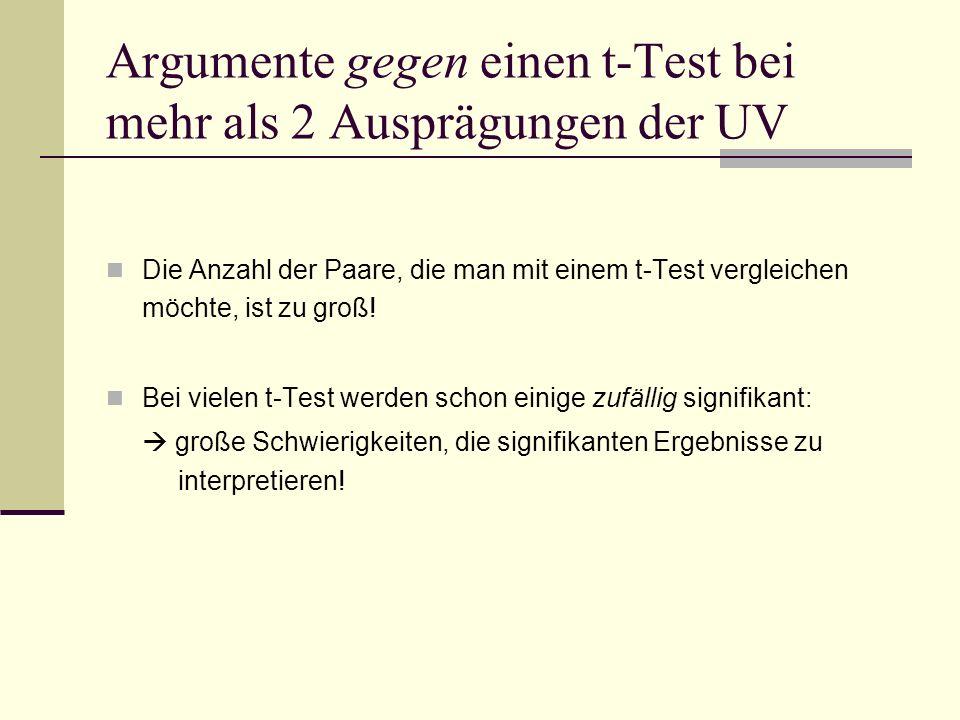 Argumente gegen einen t-Test bei mehr als 2 Ausprägungen der UV