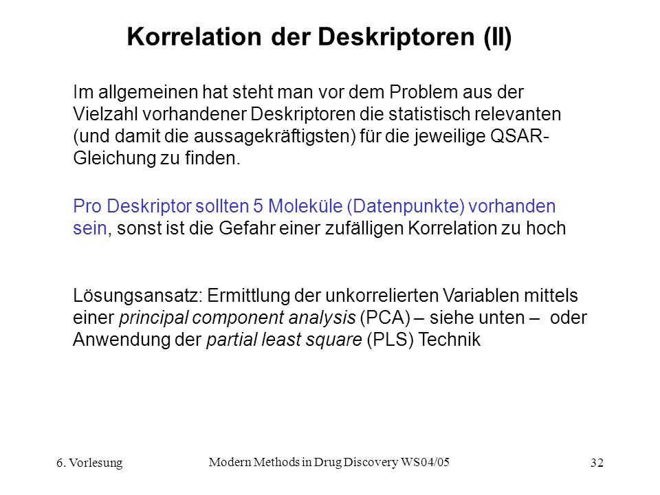 Korrelation der Deskriptoren (II)