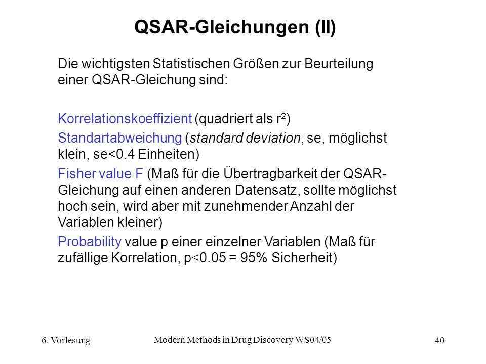 QSAR-Gleichungen (II)