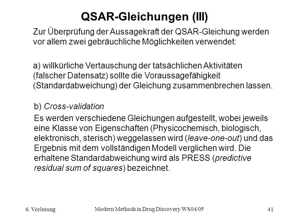 QSAR-Gleichungen (III)
