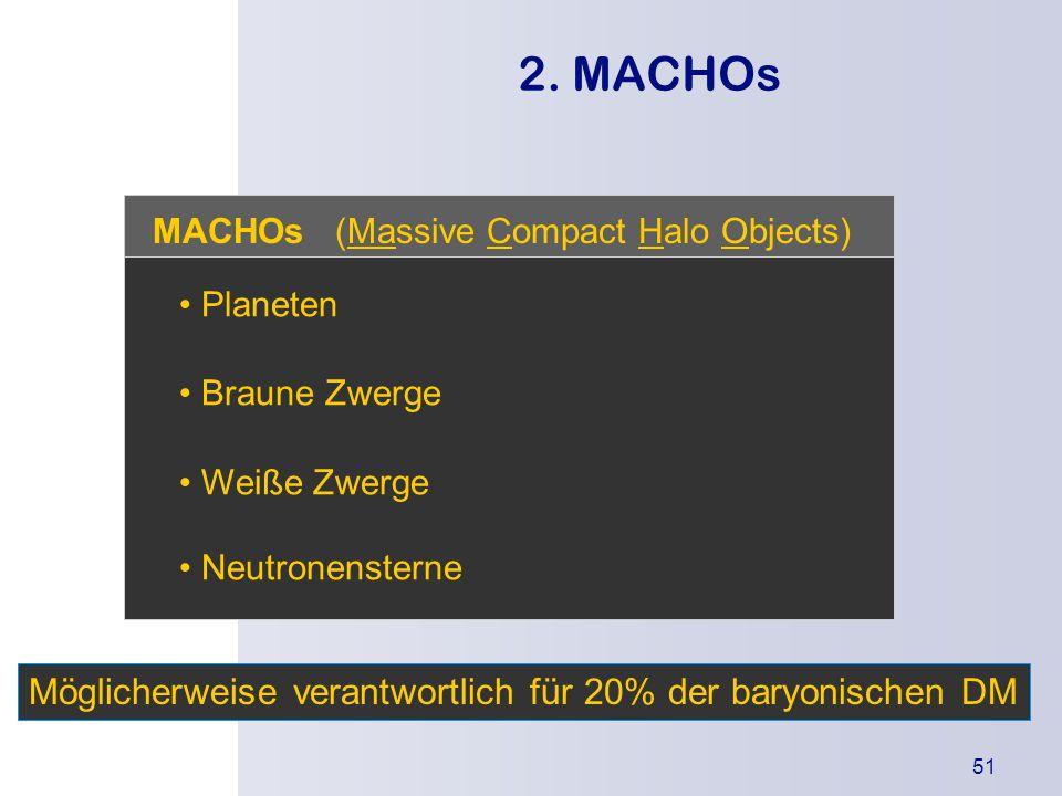 2. MACHOs Möglicherweise verantwortlich für 20% der baryonischen DM