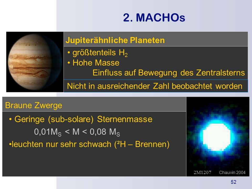 2. MACHOs • Geringe (sub-solare) Sternenmasse