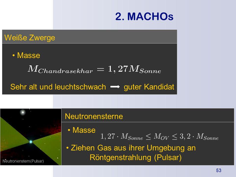 2. MACHOs Weiße Zwerge Masse Sehr alt und leuchtschwach guter Kandidat