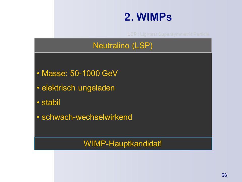 2. WIMPs Neutralino (LSP) Masse: 50-1000 GeV • elektrisch ungeladen