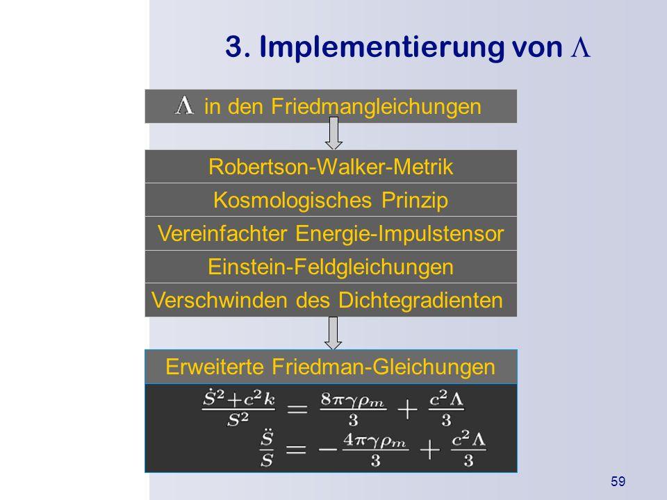 3. Implementierung von L in den Friedmangleichungen