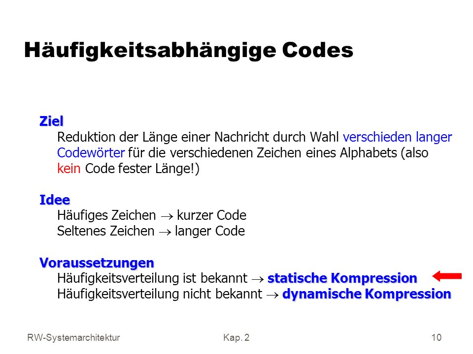 Häufigkeitsabhängige Codes