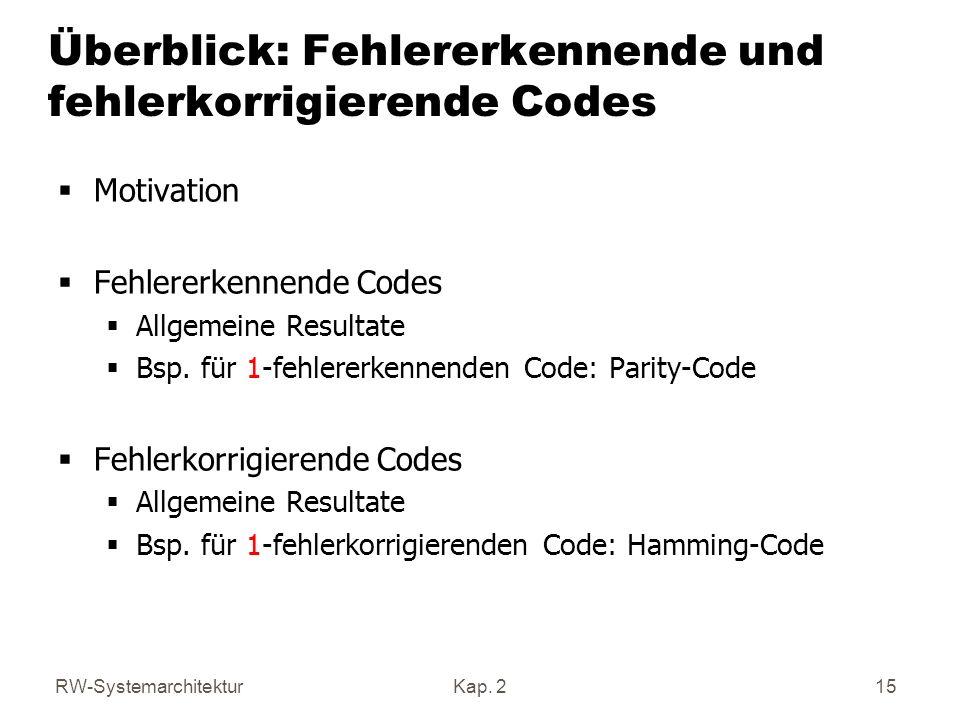 Überblick: Fehlererkennende und fehlerkorrigierende Codes
