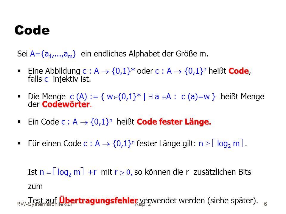 Code Sei A={a1,...,am} ein endliches Alphabet der Größe m.