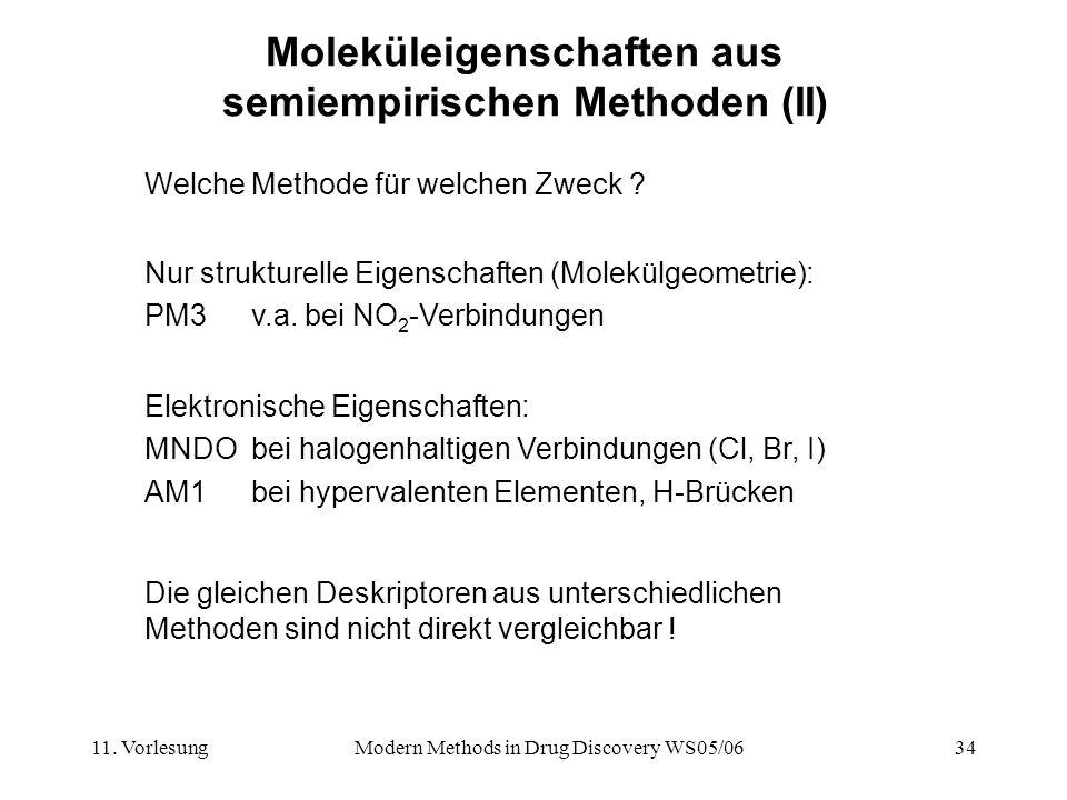 Moleküleigenschaften aus semiempirischen Methoden (II)