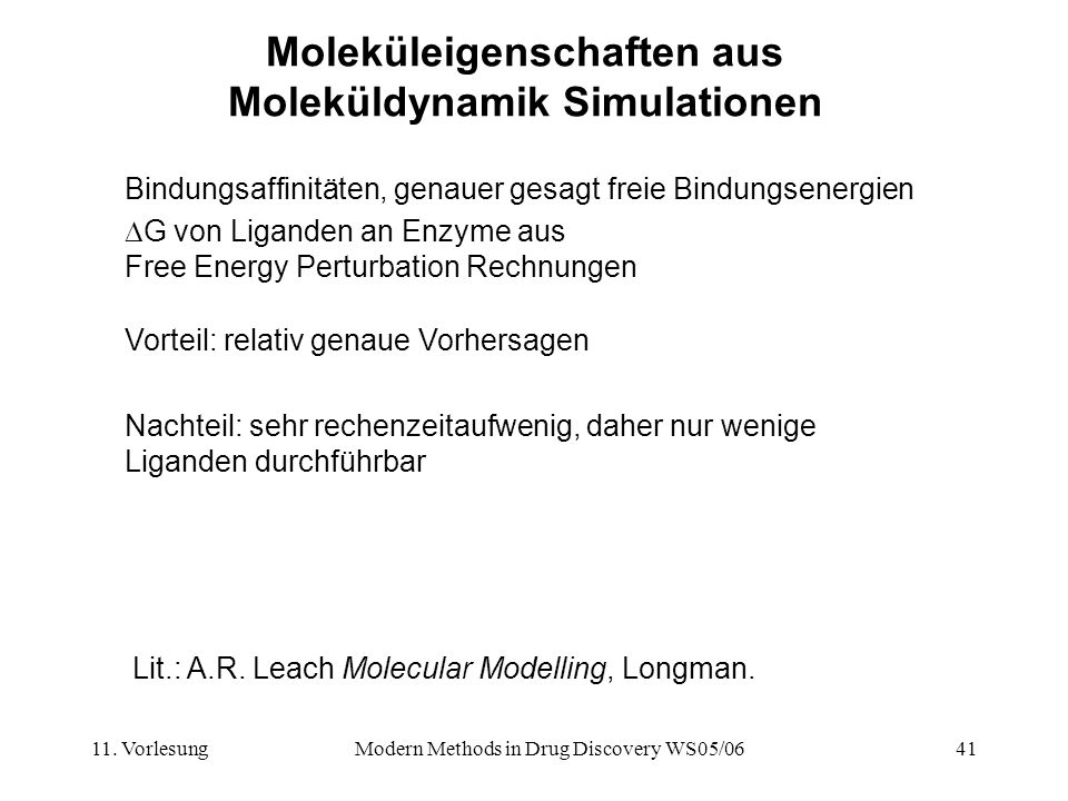 Moleküleigenschaften aus Moleküldynamik Simulationen
