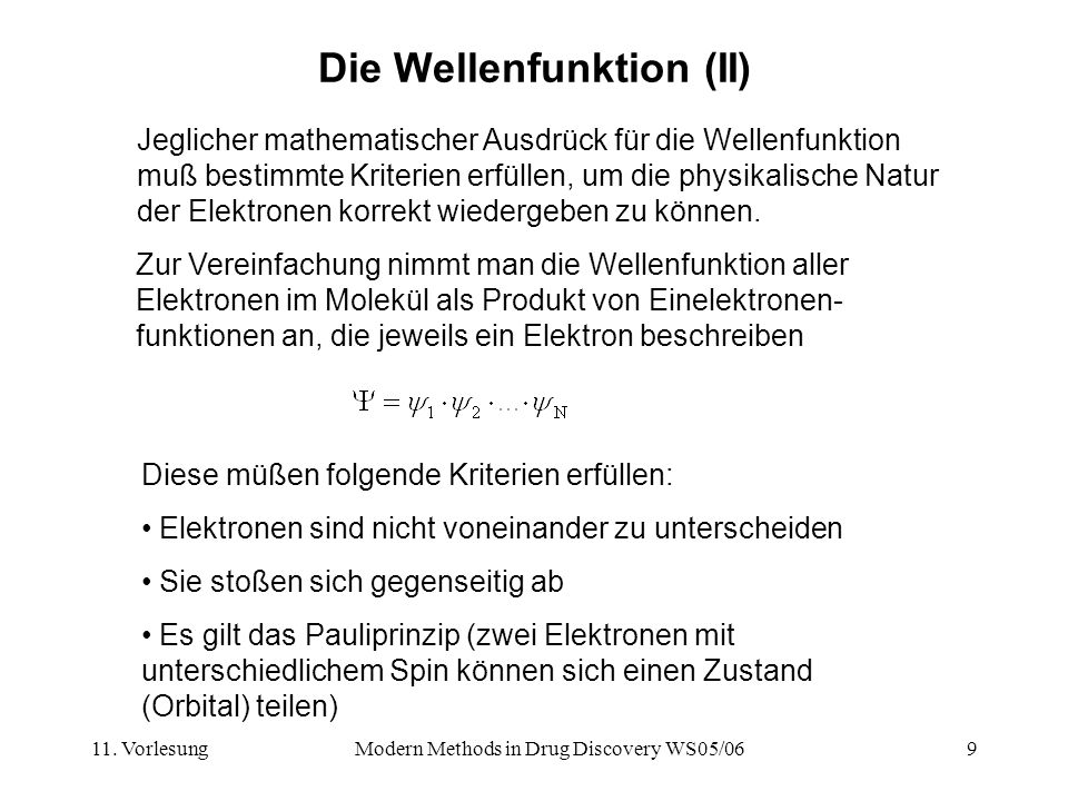 Die Wellenfunktion (II)