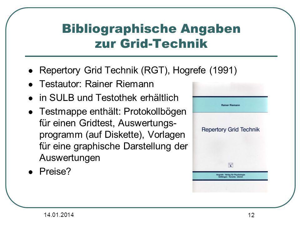Bibliographische Angaben zur Grid-Technik