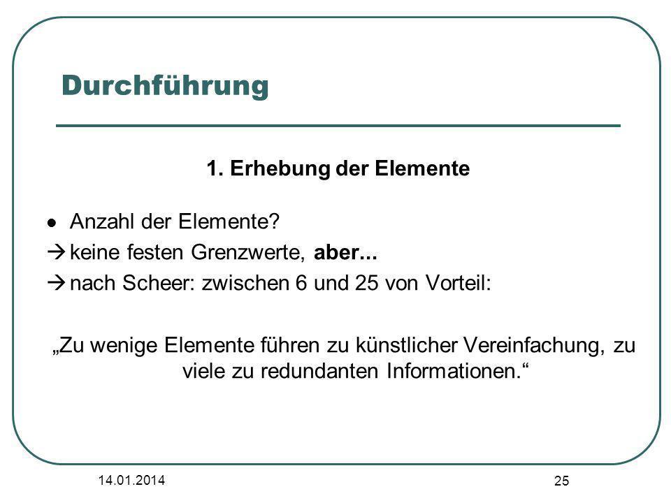 Durchführung 1. Erhebung der Elemente Anzahl der Elemente