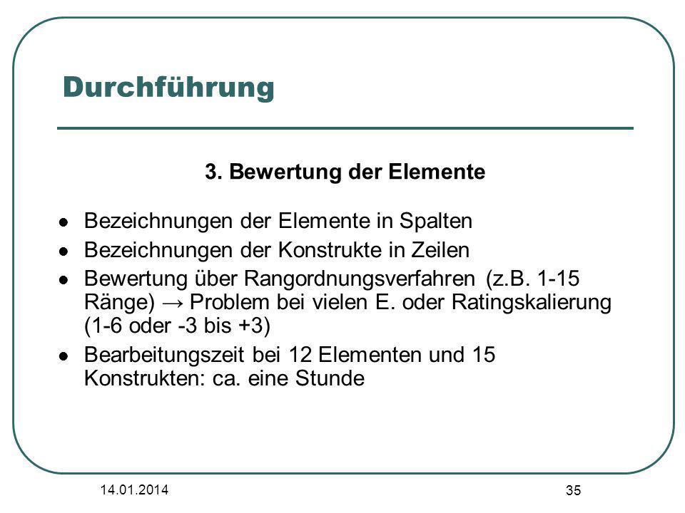 3. Bewertung der Elemente