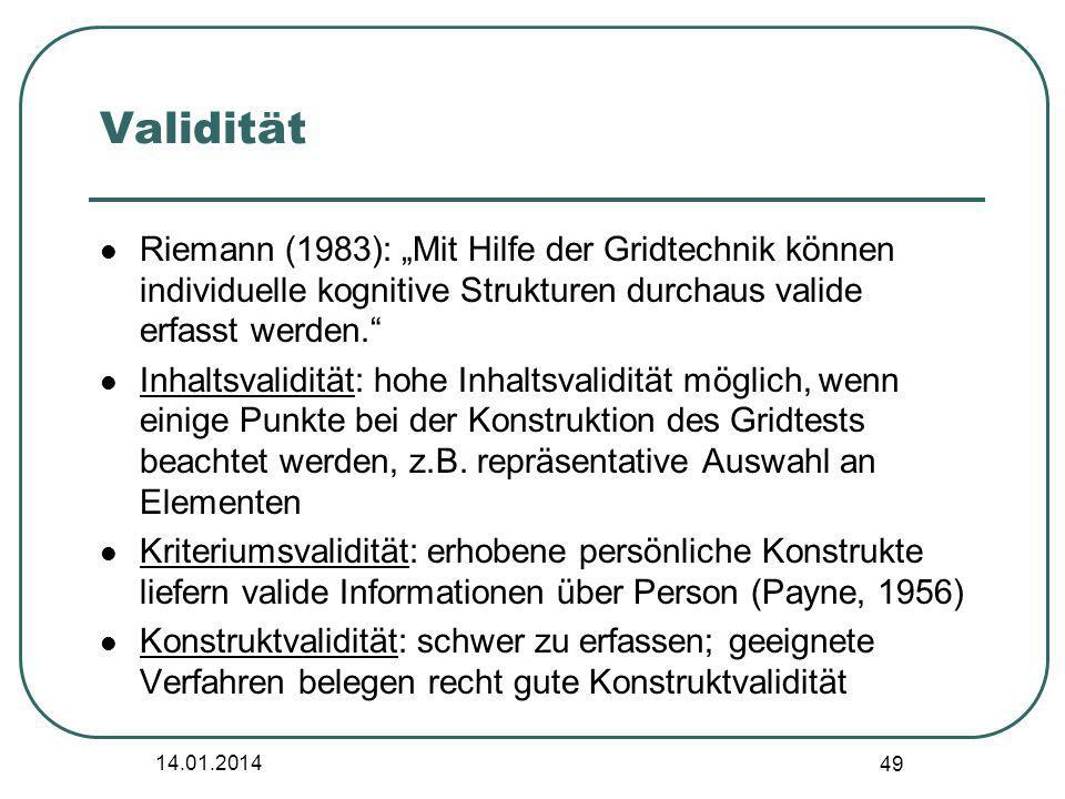 """Validität Riemann (1983): """"Mit Hilfe der Gridtechnik können individuelle kognitive Strukturen durchaus valide erfasst werden."""