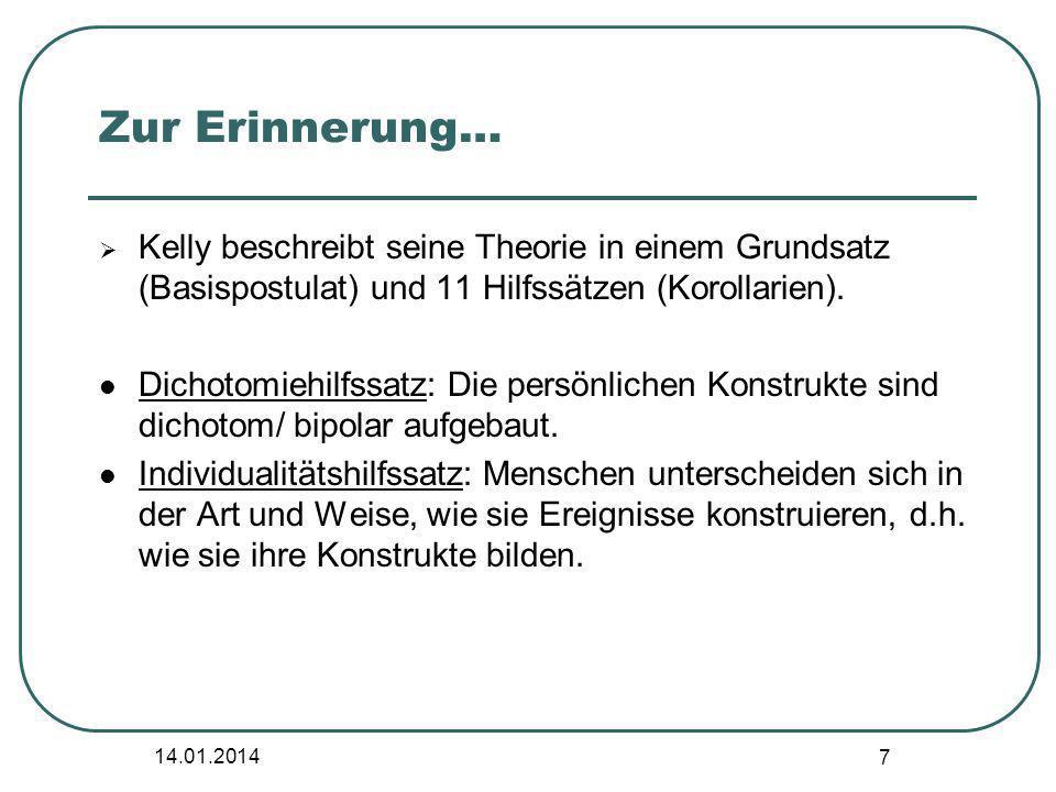 Zur Erinnerung… Kelly beschreibt seine Theorie in einem Grundsatz (Basispostulat) und 11 Hilfssätzen (Korollarien).