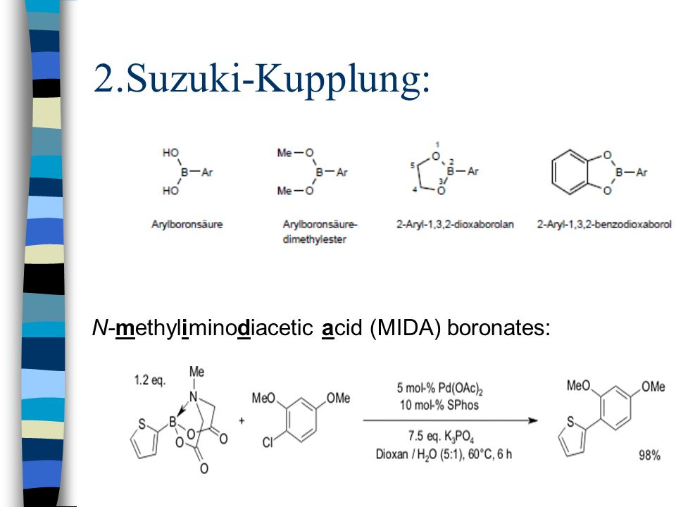 2.Suzuki-Kupplung: N-methyliminodiacetic acid (MIDA) boronates: