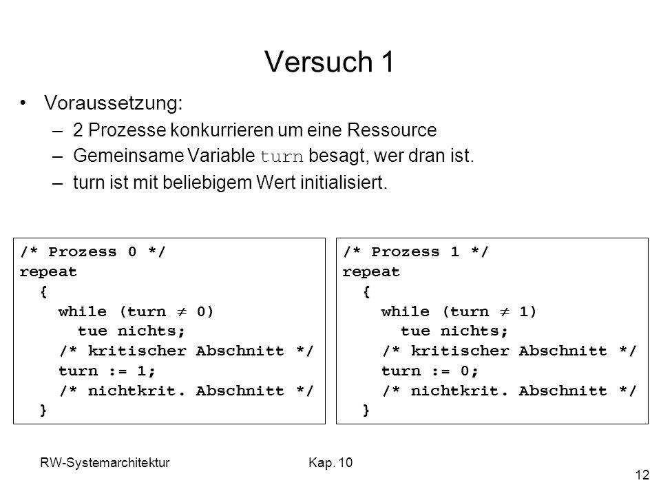 Versuch 1 Voraussetzung: 2 Prozesse konkurrieren um eine Ressource