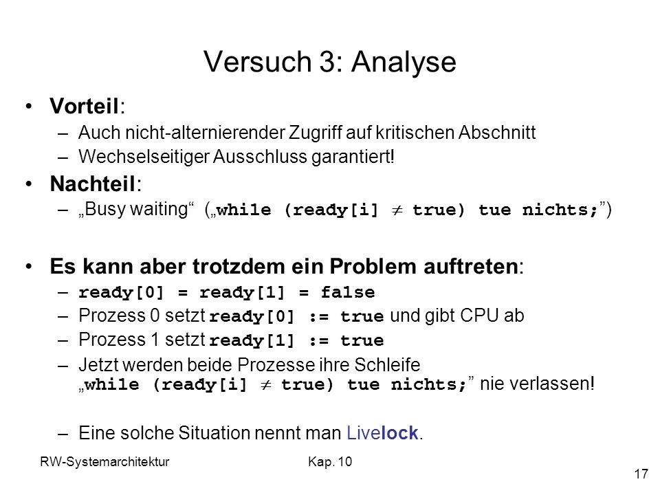 Versuch 3: Analyse Vorteil: Nachteil:
