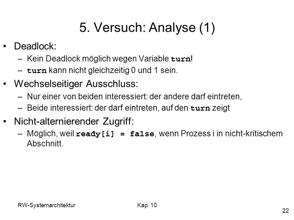 5. Versuch: Analyse (1) Deadlock: Wechselseitiger Ausschluss: