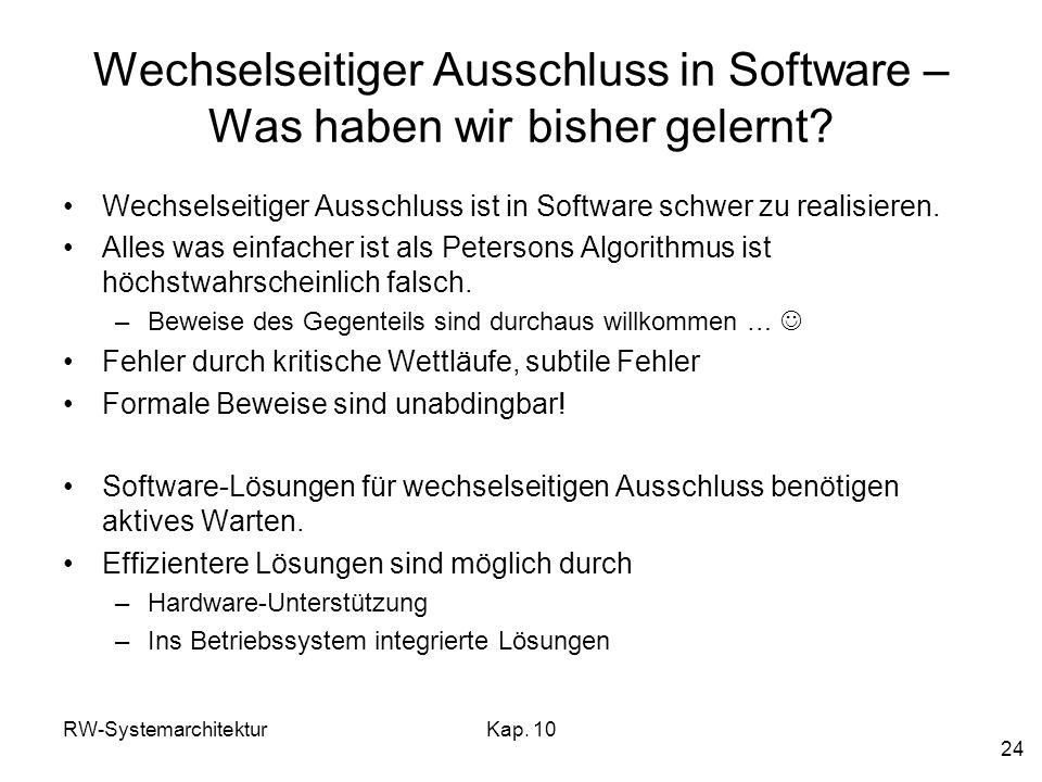 Wechselseitiger Ausschluss in Software – Was haben wir bisher gelernt