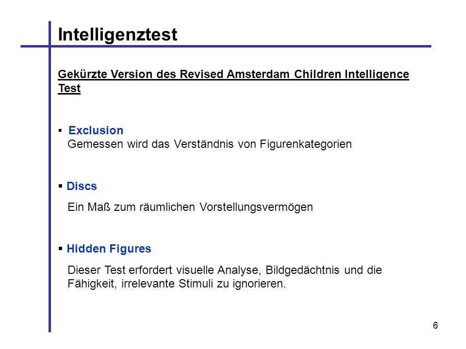 IntelligenztestGekürzte Version des Revised Amsterdam Children Intelligence Test. Exclusion Gemessen wird das Verständnis von Figurenkategorien.