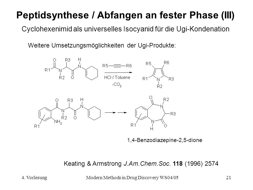 Peptidsynthese / Abfangen an fester Phase (III)