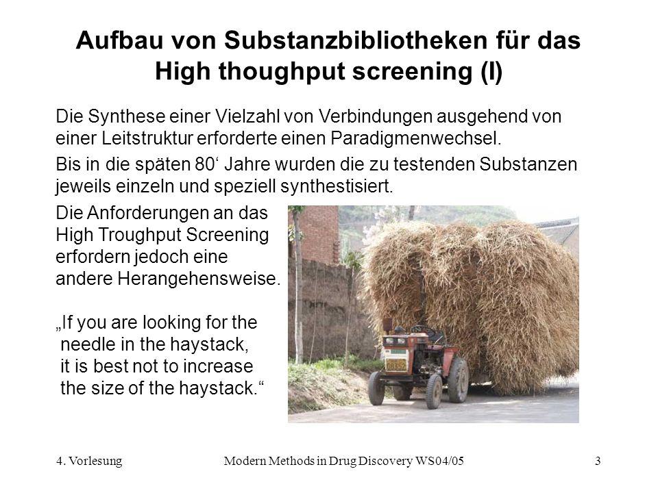 Aufbau von Substanzbibliotheken für das High thoughput screening (I)