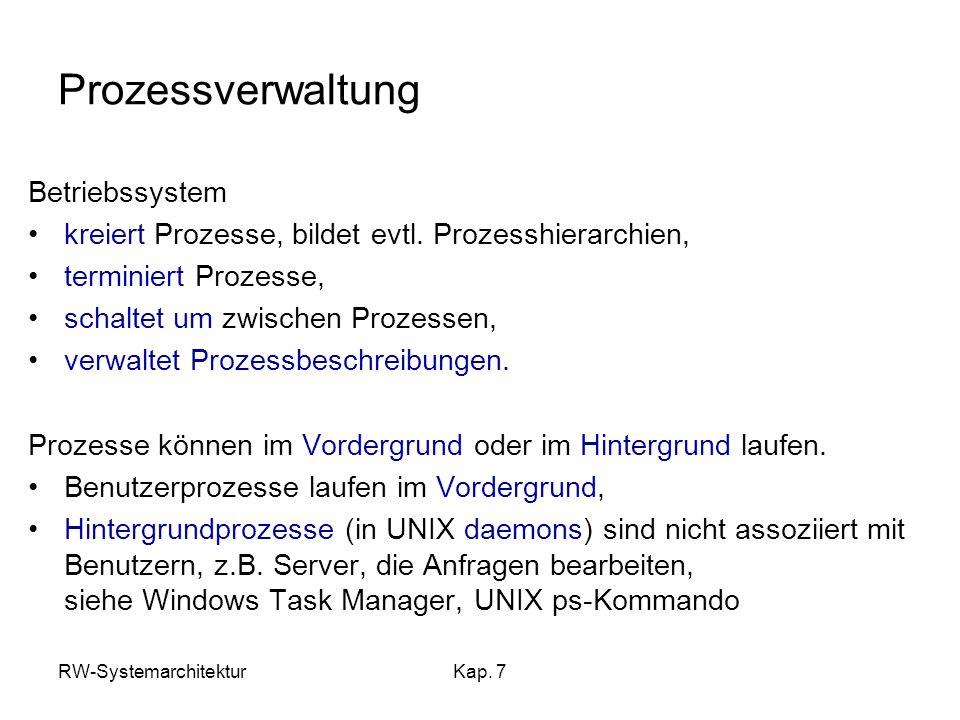 Prozessverwaltung Betriebssystem