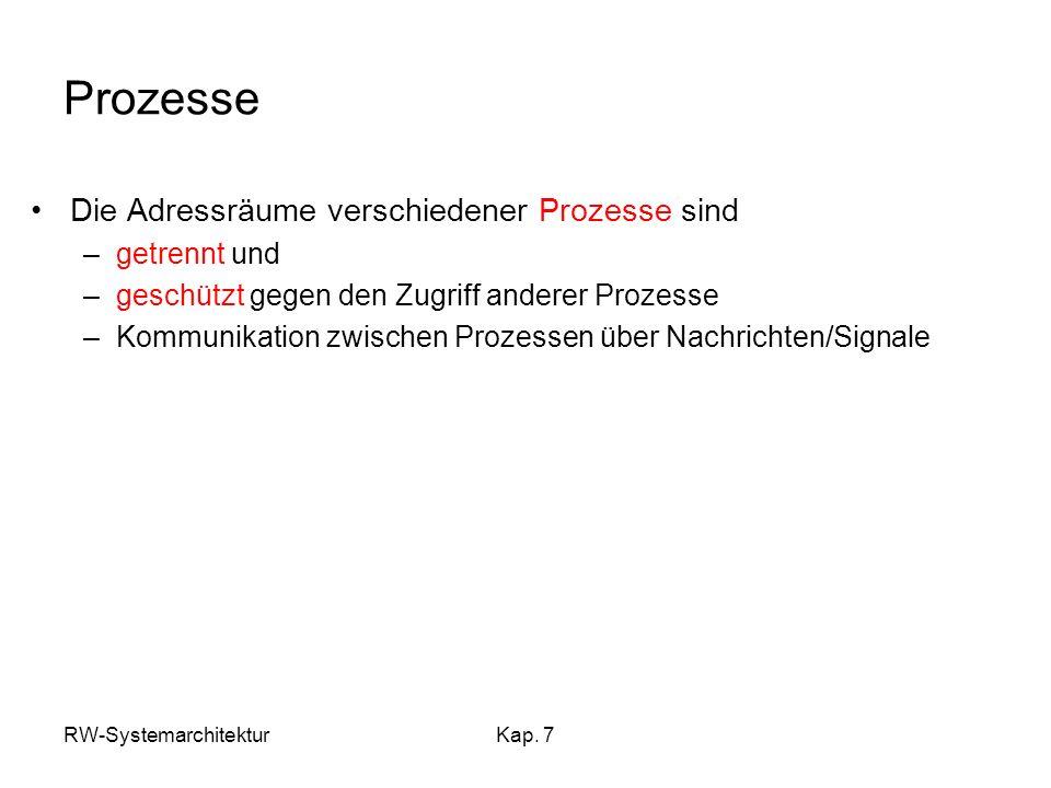Prozesse Die Adressräume verschiedener Prozesse sind getrennt und