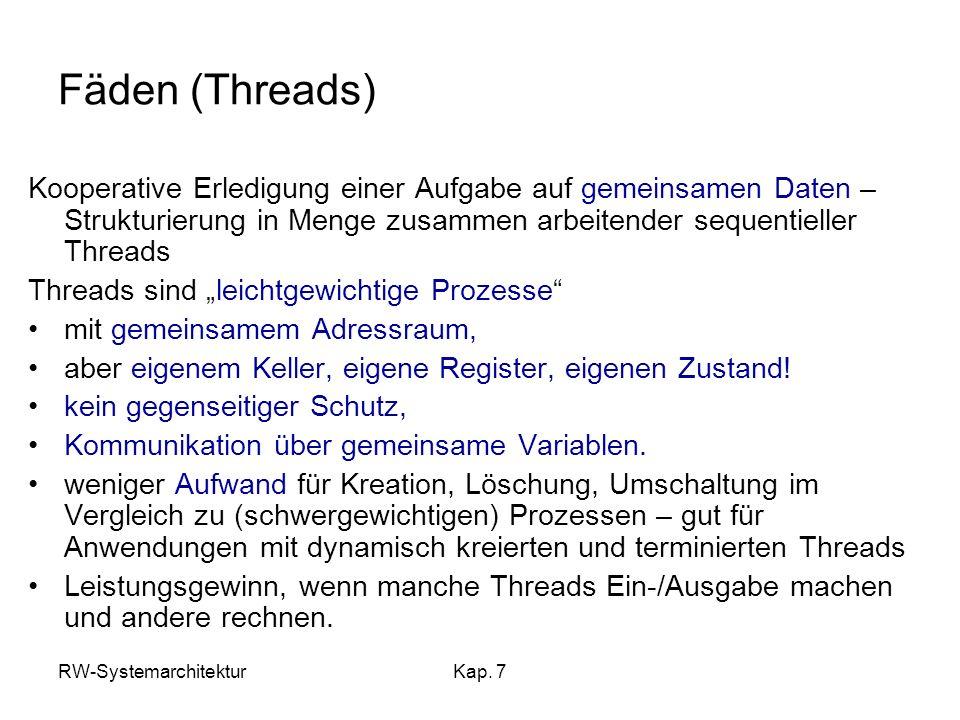Fäden (Threads) Kooperative Erledigung einer Aufgabe auf gemeinsamen Daten – Strukturierung in Menge zusammen arbeitender sequentieller Threads.