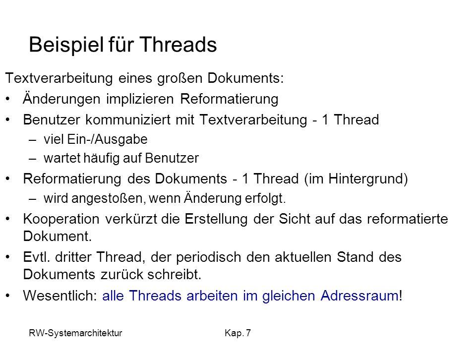 Beispiel für Threads Textverarbeitung eines großen Dokuments:
