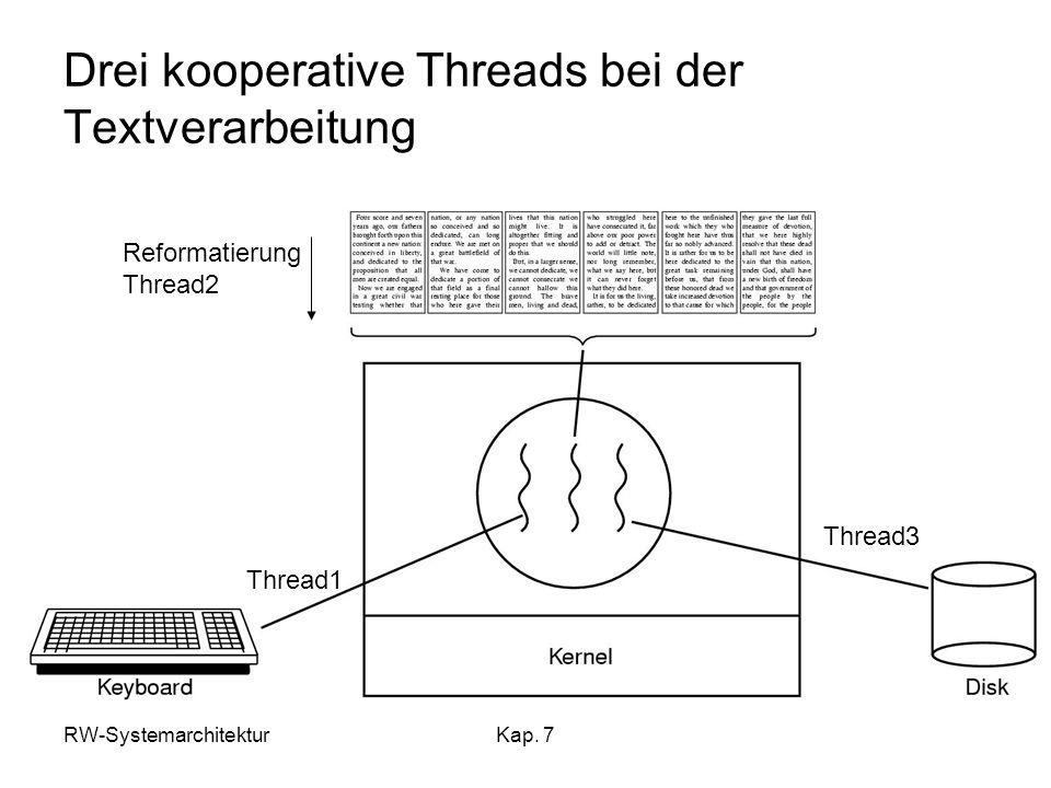 Drei kooperative Threads bei der Textverarbeitung