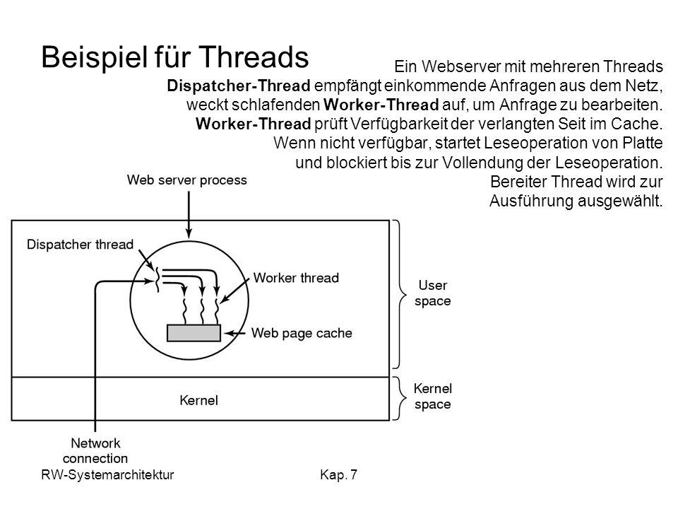 Beispiel für Threads Ein Webserver mit mehreren Threads