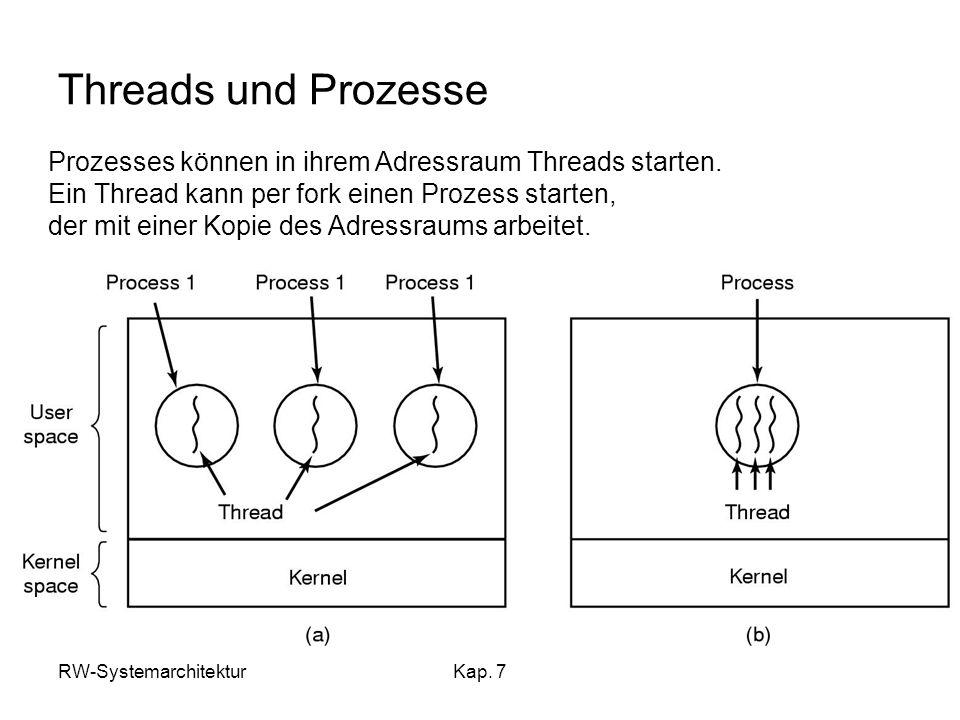 Threads und Prozesse Prozesses können in ihrem Adressraum Threads starten. Ein Thread kann per fork einen Prozess starten,