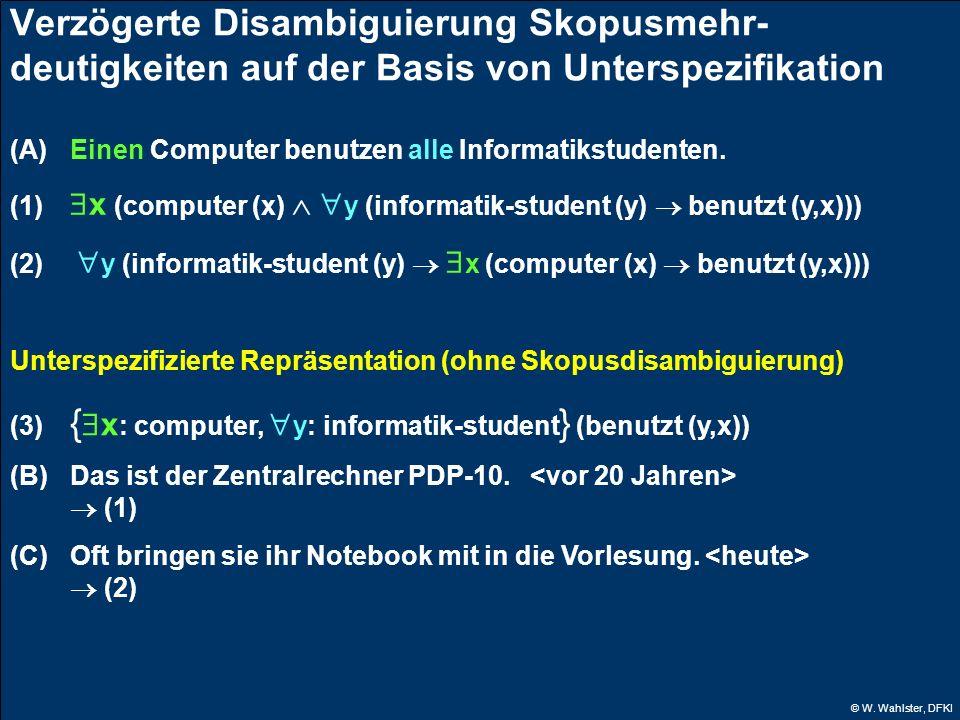 Verzögerte Disambiguierung Skopusmehr-deutigkeiten auf der Basis von Unterspezifikation
