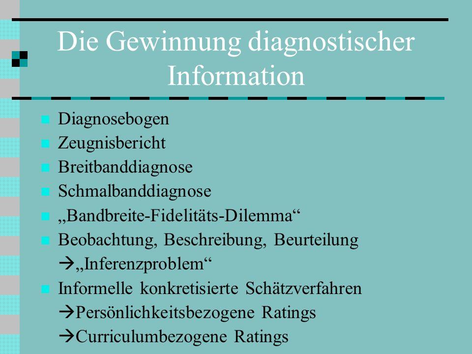 Die Gewinnung diagnostischer Information