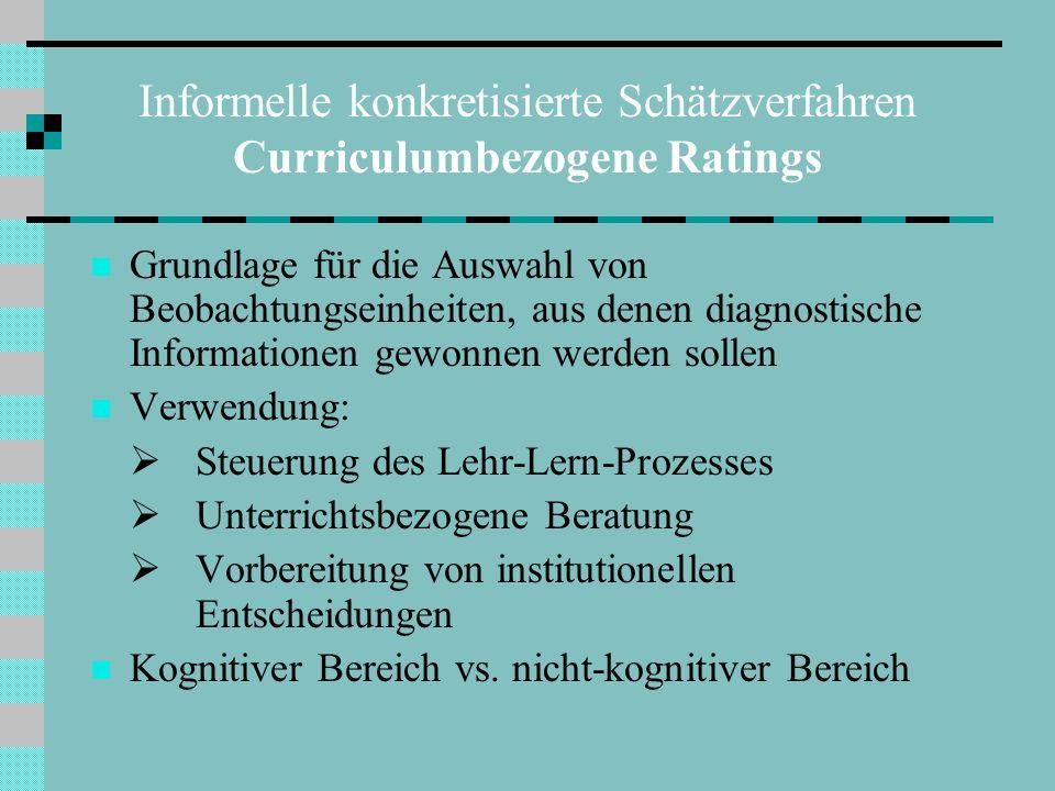 Informelle konkretisierte Schätzverfahren Curriculumbezogene Ratings