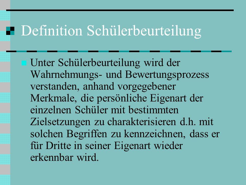 Definition Schülerbeurteilung