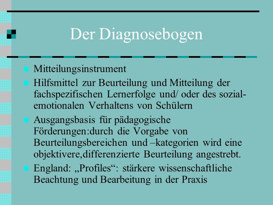 Der Diagnosebogen Mitteilungsinstrument