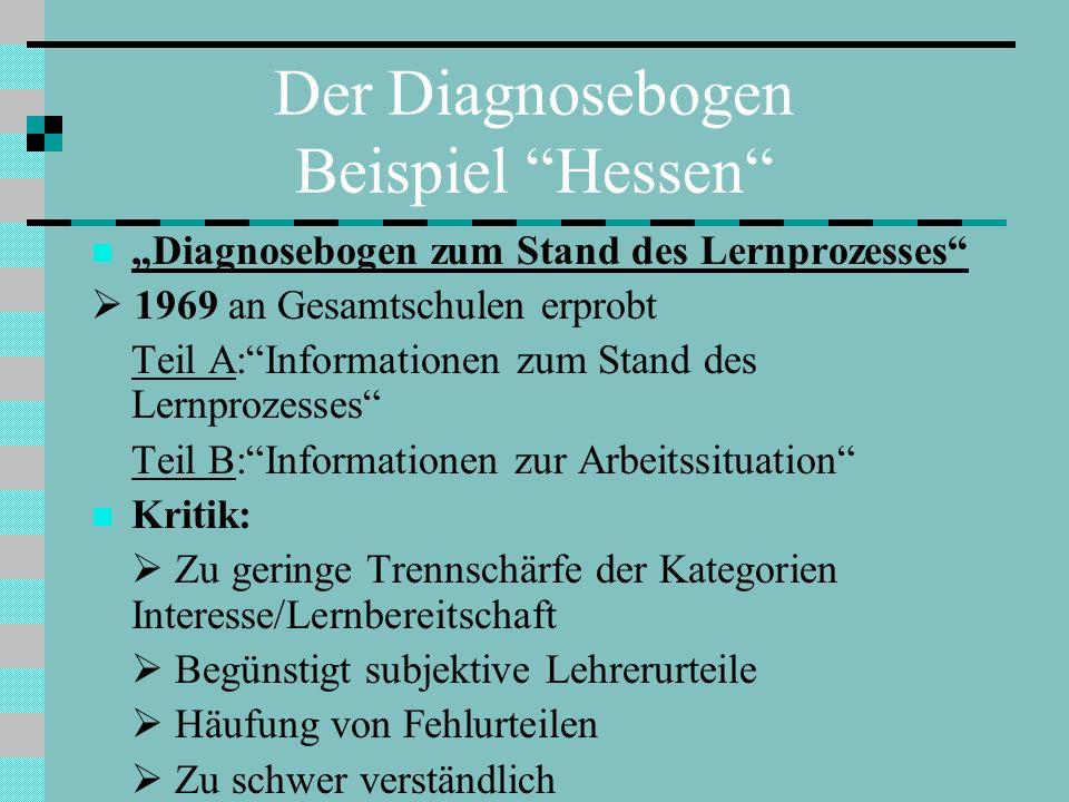 Der Diagnosebogen Beispiel Hessen