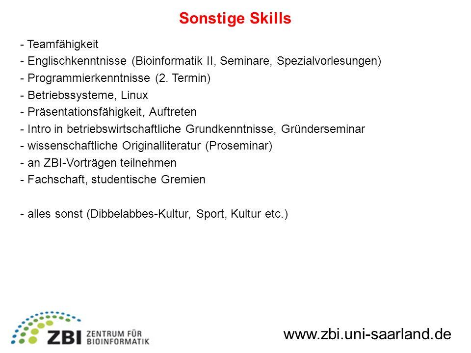 Sonstige Skills www.zbi.uni-saarland.de Teamfähigkeit