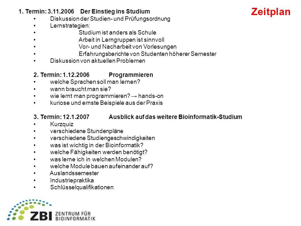 Zeitplan 1. Termin: 3.11.2006 Der Einstieg ins Studium