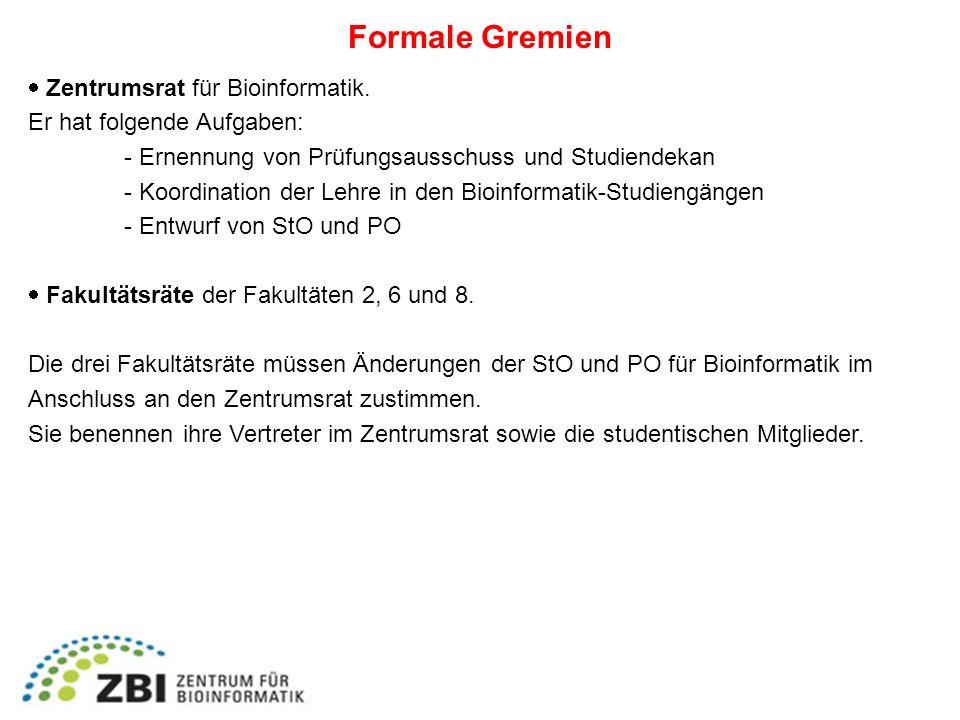 Formale Gremien  Zentrumsrat für Bioinformatik.