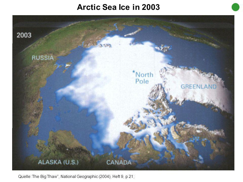 Arctic Sea Ice in 2003 Quelle: The Big Thaw , National Geographic (2004), Heft 9, p.21;