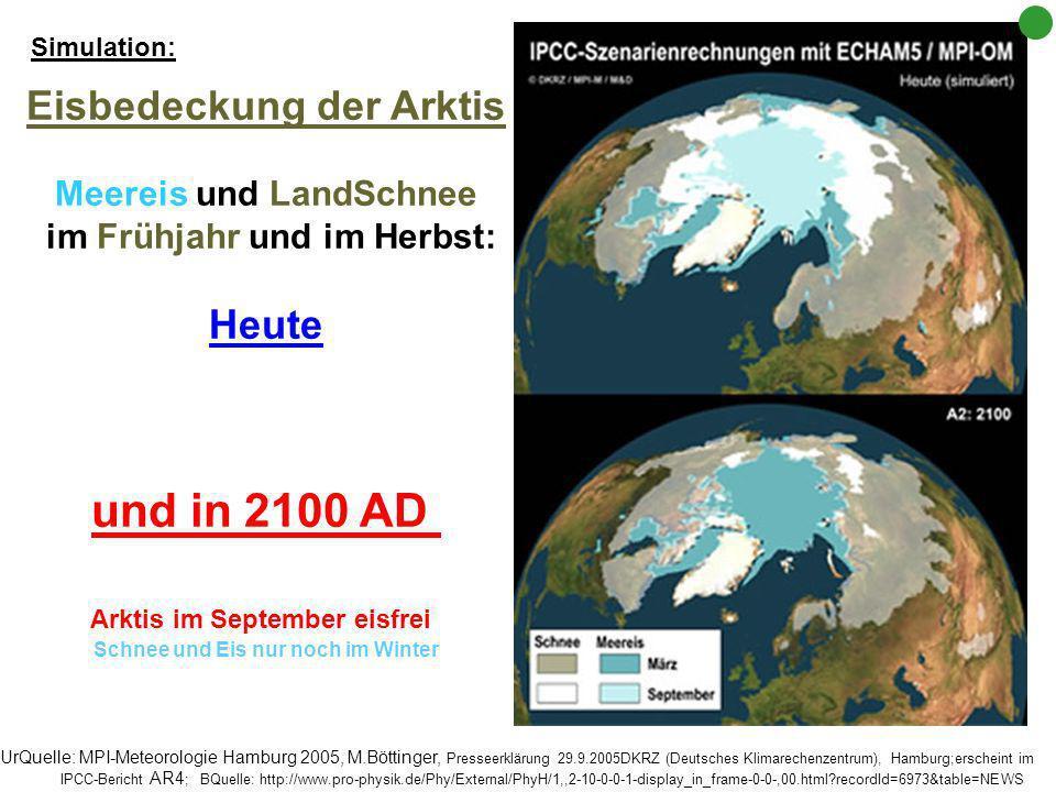 und in 2100 AD Eisbedeckung der Arktis Heute Meereis und LandSchnee