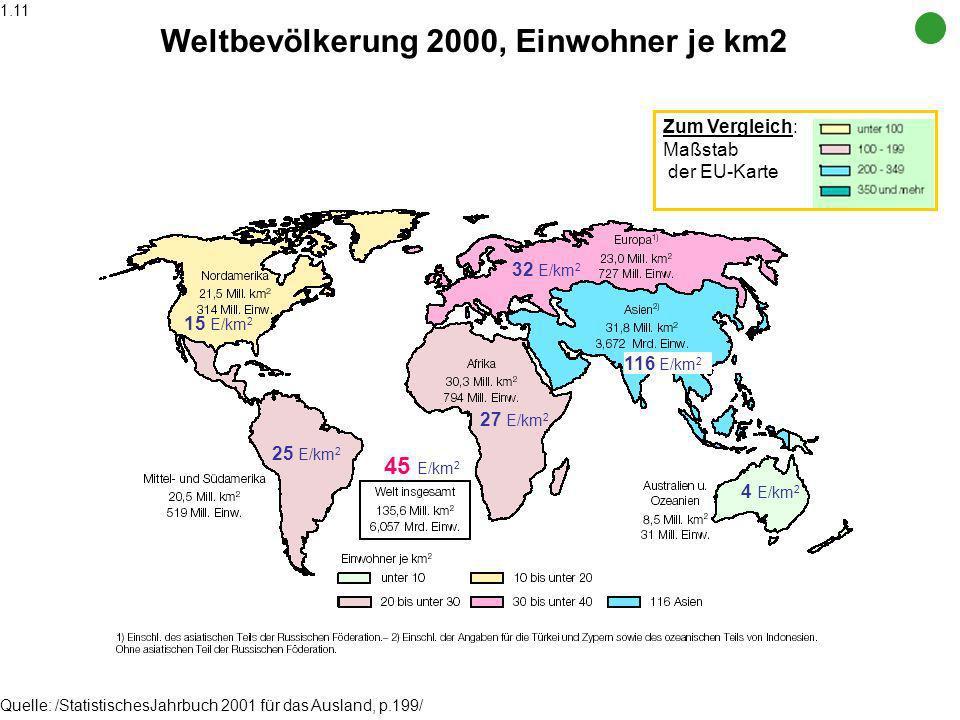 Weltbevölkerung 2000, Einwohner je km2