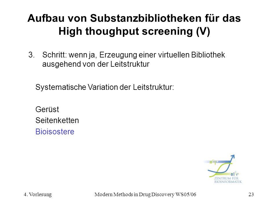 Aufbau von Substanzbibliotheken für das High thoughput screening (V)